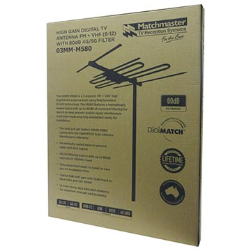 03MM-M580 - High Gain Digital TV Antenna FM + VHF (6-12) with 80dB 4G/5G Filter Packaging Image