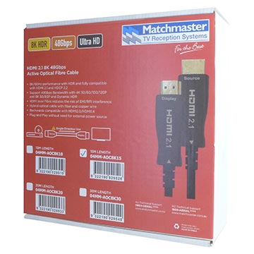 04MM-AOC8K15 - 15M HDMI 2.1 8K 48Gbps Active Optical Fibre Cable Packaging Image