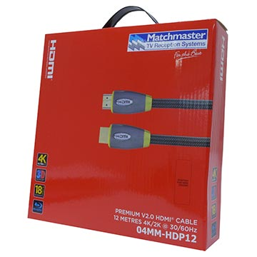 04MM-HDP12 - Premium HDMI® Cable 12M with 4K/2K @ 30/60Hz and 3D Support Packaging Image