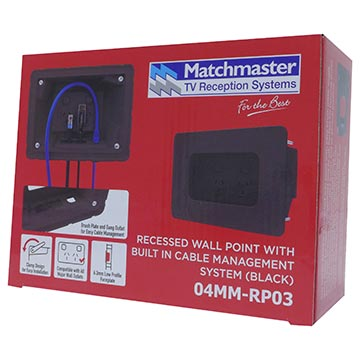04MM-RP03 - Recessed Wall Point with Built in Cable Management System (Black) Packaging Image