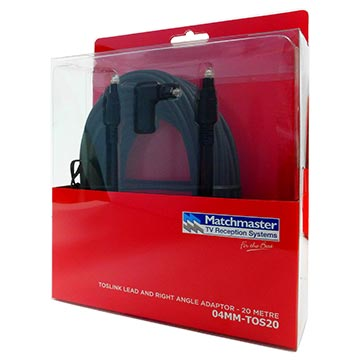 04MM-TOS20 - Toslink Male to Male Lead 20M including Right Angle Adaptor Packaging Image