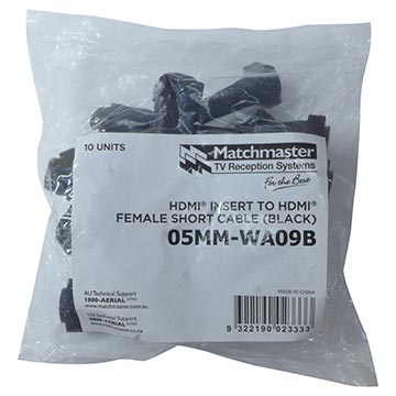 05MM-WA09B - HDMI® Insert (Black) To HDMI® Female Short Cable (10 Pack) Packaging Image
