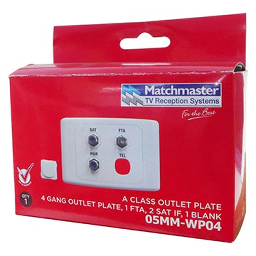 05MM-WP04 - SAT / FTA / PDR Outlet Plate (Foxtel Approved) Packaging Image