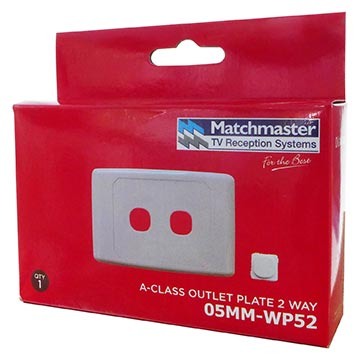 05MM-WP52 - 2 Way Outlet Plate Including 1 Blank Insert Packaging Image