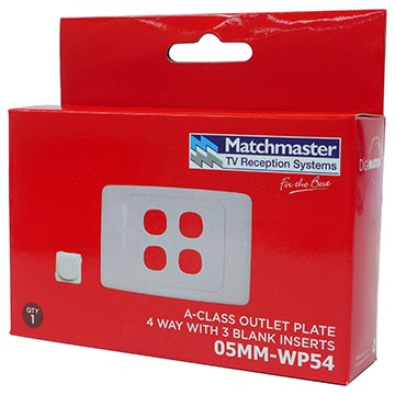 05MM-WP54 - 4 Way Outlet Plate Including 3 Blank Inserts Packaging Image