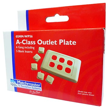 05MM-WP56 - 6 Way Outlet Plate Including 5 Blank Inserts Packaging Image
