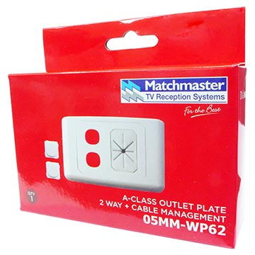 05MM-WP62 - 2 Way Outlet Plate With Cable Management Including 2 Blank Inserts Packaging Image