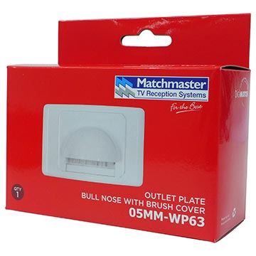 05MM-WP63 - Bull Nose Outlet Plate with Brush Cover Packaging Image