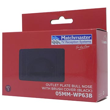 05MM-WP63B - Outlet Plate Bull Nose with Brush Cover (Black) Packaging Image