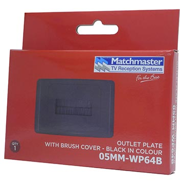 05MM-WP64B - Outlet Plate with Brush Cover (Black) Packaging Image