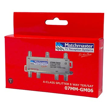07MM-GM06 - 6 Way F-Type Splitter 5-2450MHz AC/DC Power Pass Packaging Image