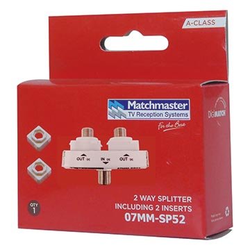07MM-SP52 - 2 Way Wall Plate Splitter DC Only Power Pass Packaging Image