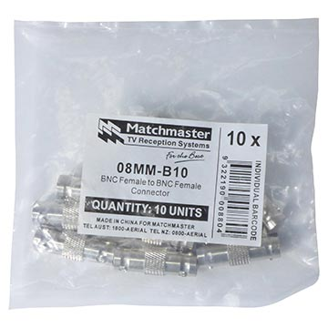08MM-B10 - Adaptor BNC Female To BNC Female (10 Pack) Packaging Image