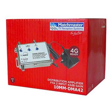 10MM-DMA42 - Distribution Amplifier 40dB U/V with Power Supply 4G Filtered Packaging Image
