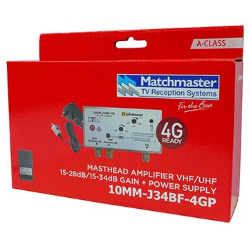 10MM-J34BF-4GP - Masthead Amplifier VHF/UHF 34dB with 4G/5G Filter and Power Supply Packaging Image