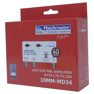 10MM-MD34 - Power Passing Masthead Amplifier VHF/UHF 34dB with 4G/5G Filter Packaging Image