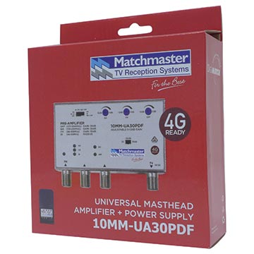 10MM-UA30PDF - Multiband Masthead Amplifier FM/BI/VHF/UHF 30dB with 4G/5G Filter and Power Supply Packaging Image
