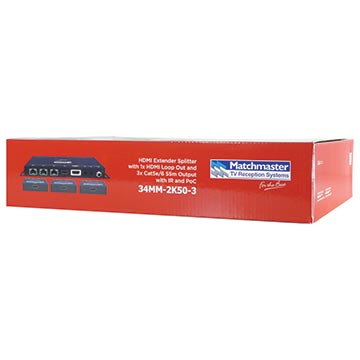 34MM-2K50-3 - HDMI Extender Splitter with 1x HDMI Loop Out and 3x Cat5e/6 55m Outputwith IR and PoC Packaging Image
