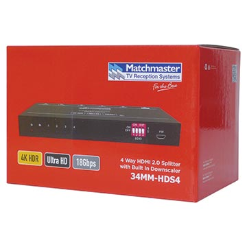 34MM-HDS4 - HDMI 2.0 18Gbps 4 Way Splitter Packaging Image