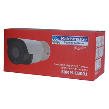 50MM-CB001 - 5MP HD Bullet IP PoE Camera IP66 3.6MM Fixed Lens Packaging Image