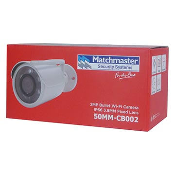 50MM-CB002 - 2MP HD Bullet IP Wi-Fi Camera IP66 3.6mm Fixed Lens Packaging Image