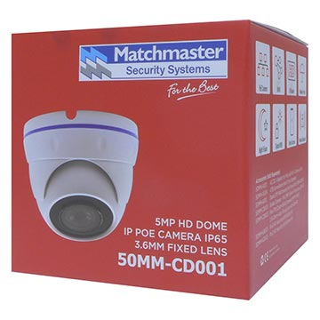 50MM-CD001 - 5MP HD Dome IP PoE Camera IP65 3.6mm Fixed Lens Packaging Image