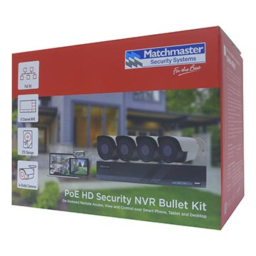 50MM-KB001 - PoE Security 8CH NVR Kit with 2TB HDD, 4x 5MP Bullet Packaging Image