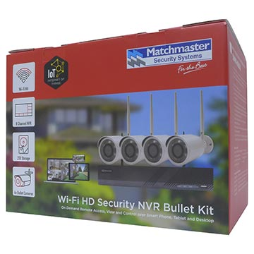 50MM-KB002 - Wi-Fi Security 8CH NVR Kit with 2TB HDD, 4x 2MP Bullet Packaging Image