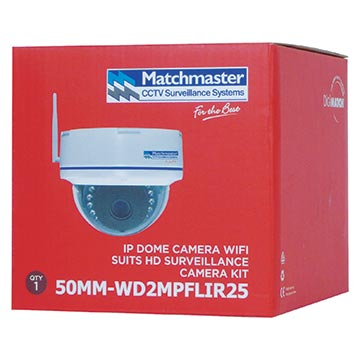 50MM-WD2MPFLIR25 - 2MP HD Dome IP Camera Wi-Fi 3.6mm Lens 720P Res Packaging Image