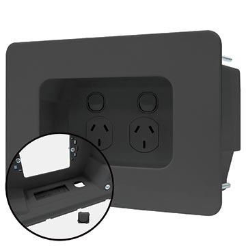 04MM-RP03 - Recessed Wall Point with Built in Cable Management System (Black)