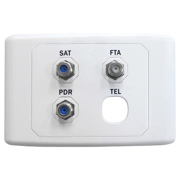05MM-WP04 - SAT / FTA / PDR Outlet Plate (Foxtel Approved)