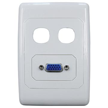 05MM-WP57 - 2 Way Outlet Plate With VGA Port Including 2 Blank Inserts