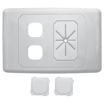 05MM-WP62 - 2 Way Outlet Plate With Cable Management Including 2 Blank Inserts