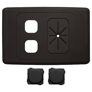 05MM-WP62B - 2 Gang Outlet Plate with Cable Management (Black)