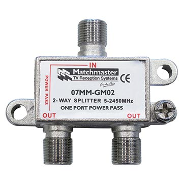 07MM-GM02 - 2 Way F-Type Splitter 5-2450MHz AC/DC Power Pass