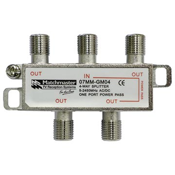 07MM-GM04 - 4 Way F-Type Splitter 5-2450MHz AC/DC Power Pass