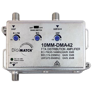 10MM-DMA42 - Distribution Amplifier 40dB U/V with Power Supply 4G Filtered