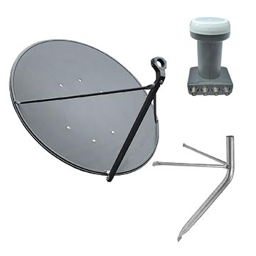 13MM-90CMKIT - 90cm Dish, Quad LNB And Wall Mount