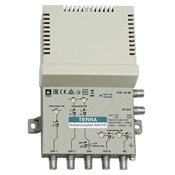 14MM-MA077TB - TERRA Split-Band Multi-Input MATV Amplifier for FM, VHF and 3x UHF Feeds