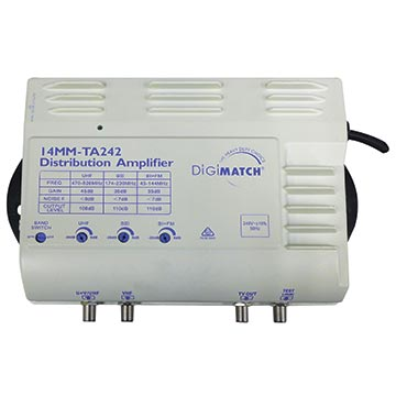 14MM-TA242 - Distribution Amplifier 45dB UHF/VHF Terrestrial With Internal Power Supply