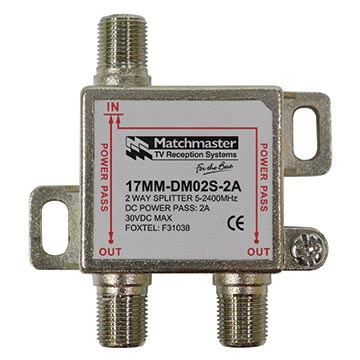 17MM-DM02S-2A - 2 Way Splitter for Foxtel SMS Systems Max 30V 2A Power Pass All Ports