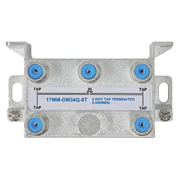 17MM-DM34Q-8T - 4 Way 8dB Terminated High Isolation Tap for MATV and Satellite