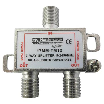 17MM-TM12 - Splitter F-Type 2 way 5-2450MHz Power Pass all ports