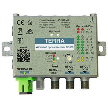 20MM-OD009 - TERRA Fibre Receiver 85dBuV Output with SC/APC Connector 47-2400MHz