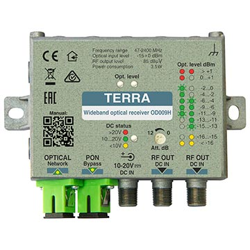 20MM-OD009H - Terra Fibre Receiver 85dBuV output with dual SC/APC connectors 47-2400MHZ with built in WDM