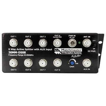 30MM-DS08 - 8 Way Active Tap Splitter with AUX Input
